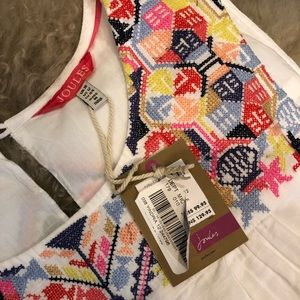 Joules white embroidered dress